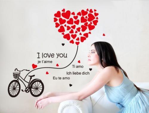 Love Bicycle JM8324 - Stiker Dinding / Wall Sticker (50x70-_175