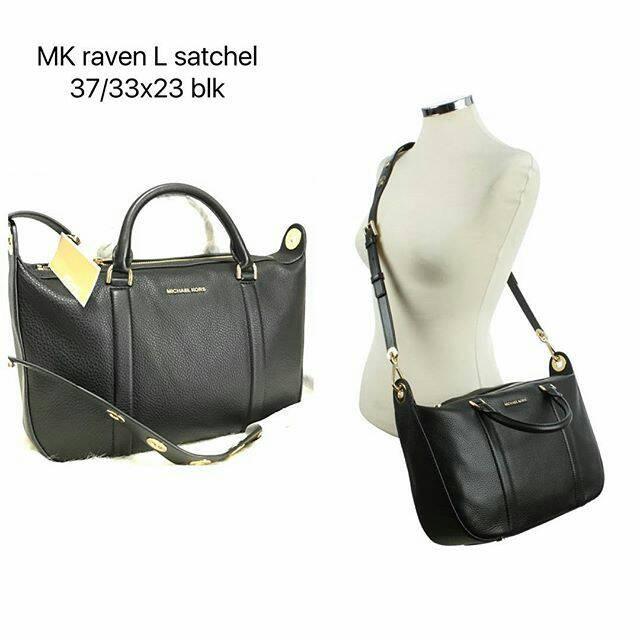 6d23f8ef559b Tas Michael Kors Raven Large Satchel Black nwt original authentic