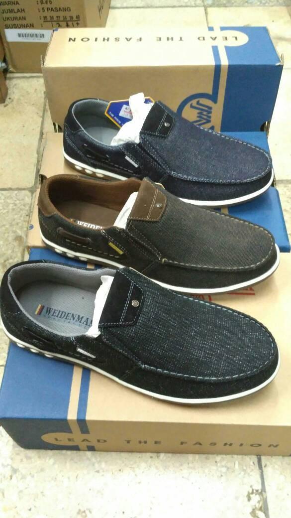 Sepatu slip on pria weidenmann nestor 02 coffee/black/navy ...