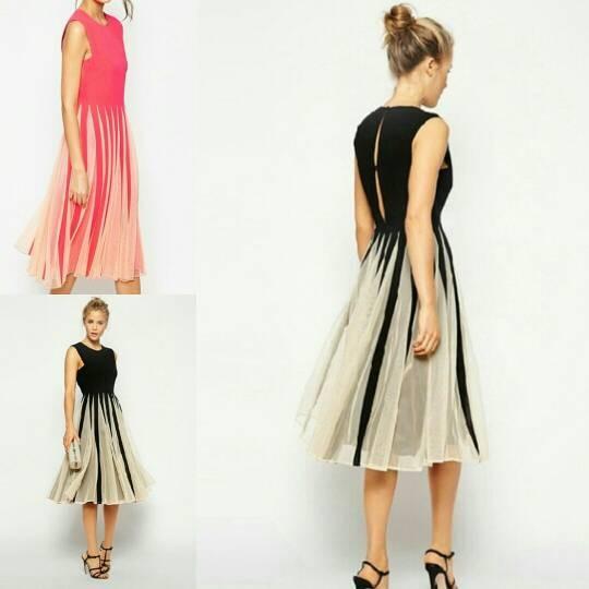 harga Long dress import maxi dres hq 16994 idw hitam-pink Tokopedia.com