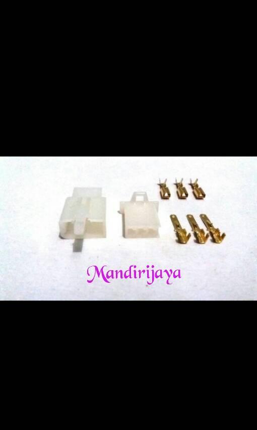 Conektor/soket motor 3pin kecil+sepasang sekun cwe/cwo
