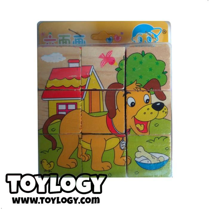 harga Mainan edukasi puzzle balok kayu hewan anjing campuran - wooden toys Tokopedia.com