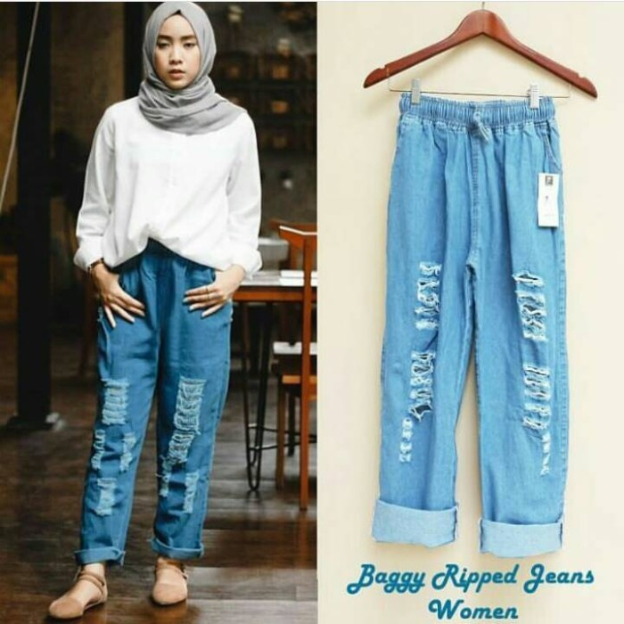 baggy ripped jeans pants - celana murah - jogger - bawahan wanita