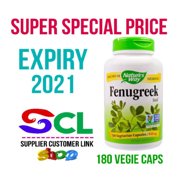 Nature's way Fenugreek Seed 610 mg 100 VCaps (Halal) - Booster ASI