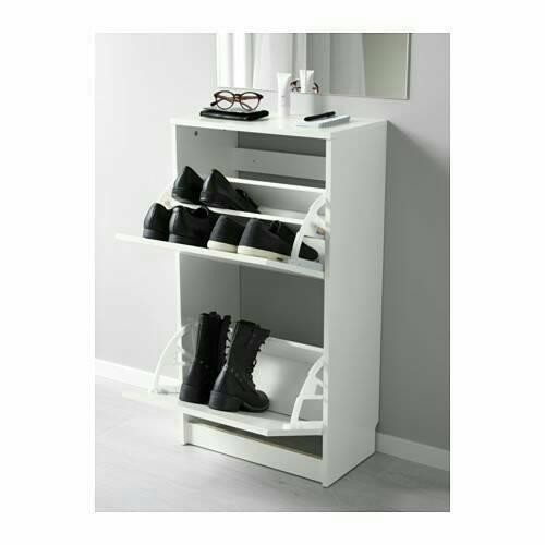 harga Kabinet sepatu dgn 2 kompartemen, rak sepatu putih,ikea bissa Tokopedia.com