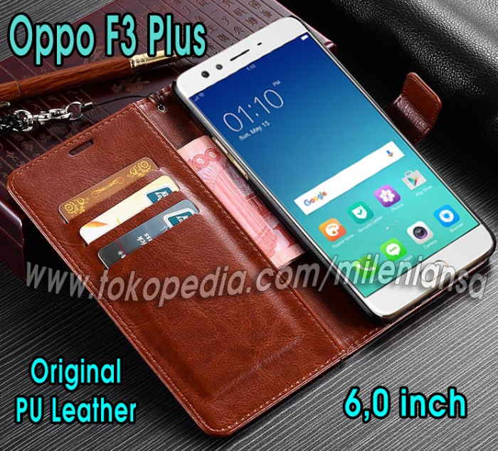 new style 93ef1 291ee Jual Flip Cover Oppo F3 Plus Leather Case Wallet Card Magnetic - Cokelat  Tua - Kab. Pemalang - Mileniansa Store | Tokopedia