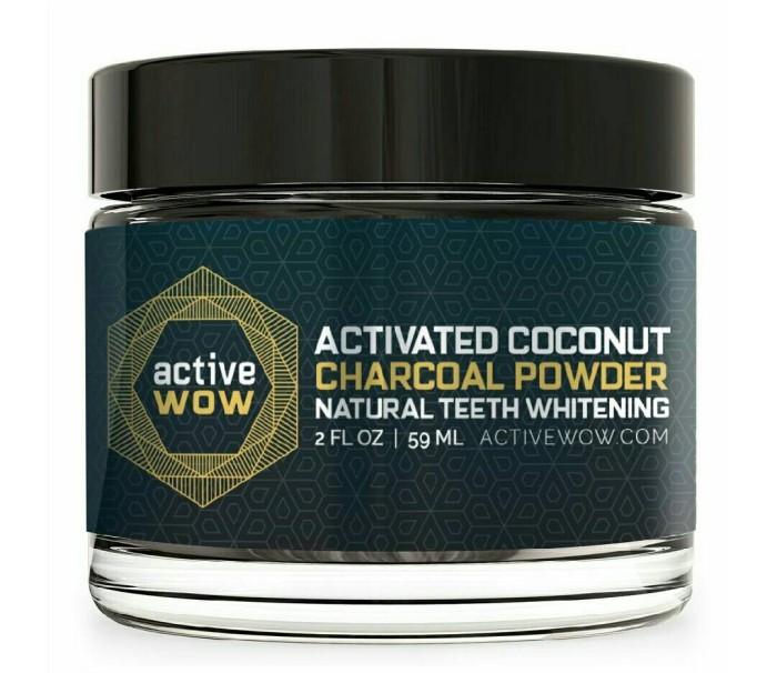 Activated charcoal powder. Whitening teeth. Pemutih gigi