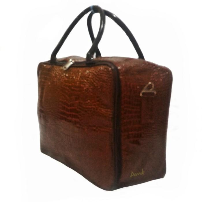 harga Travel bag fashion tas koper selempang tas mudik kulit buaya brown Tokopedia.com