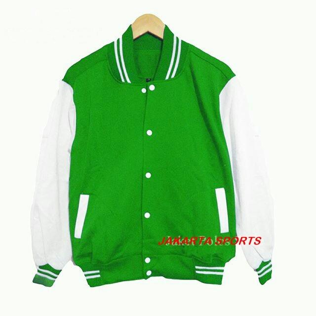 ... harga Jaket polos baseball hijau list putih! sweater base ball murah  varsity Tokopedia.com 82b68ba7e9