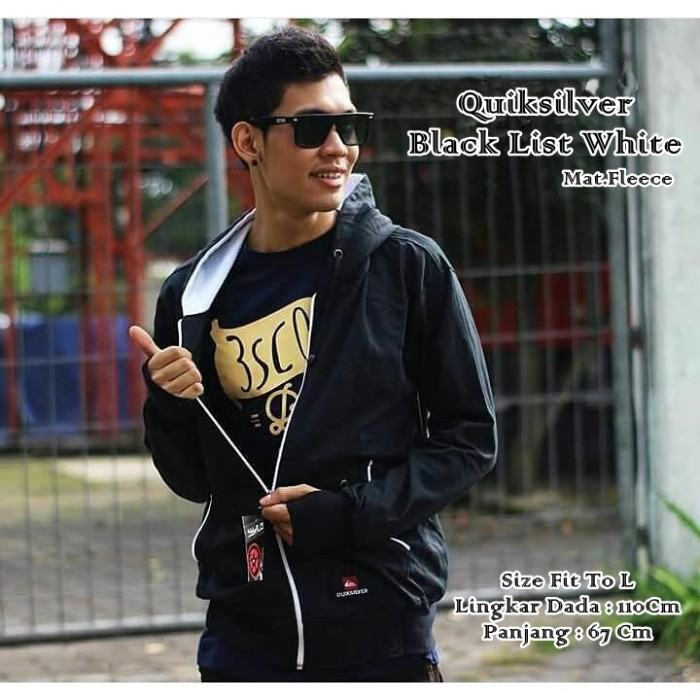 Jaket Quicksilver Black List White Sweater Pria Wanita Grosir Murah