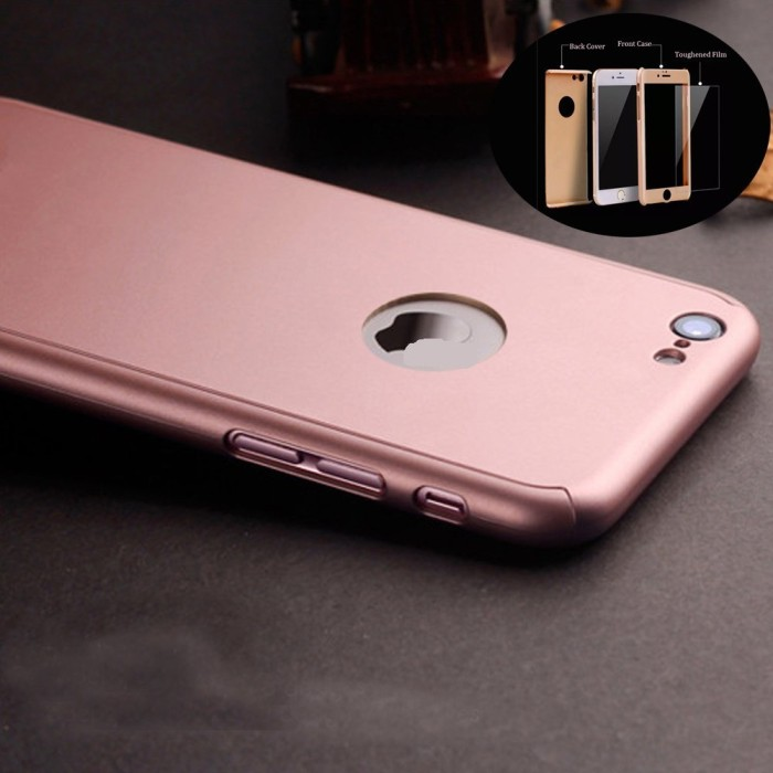 ... Hardcase Case 360 Iphone 6+ / 6s Plus Casing Free Tempered Glass Cover ...