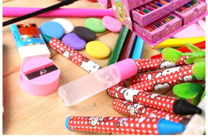 68 pcs pensil warna alat tulis set crayon alat tulis set lukis .