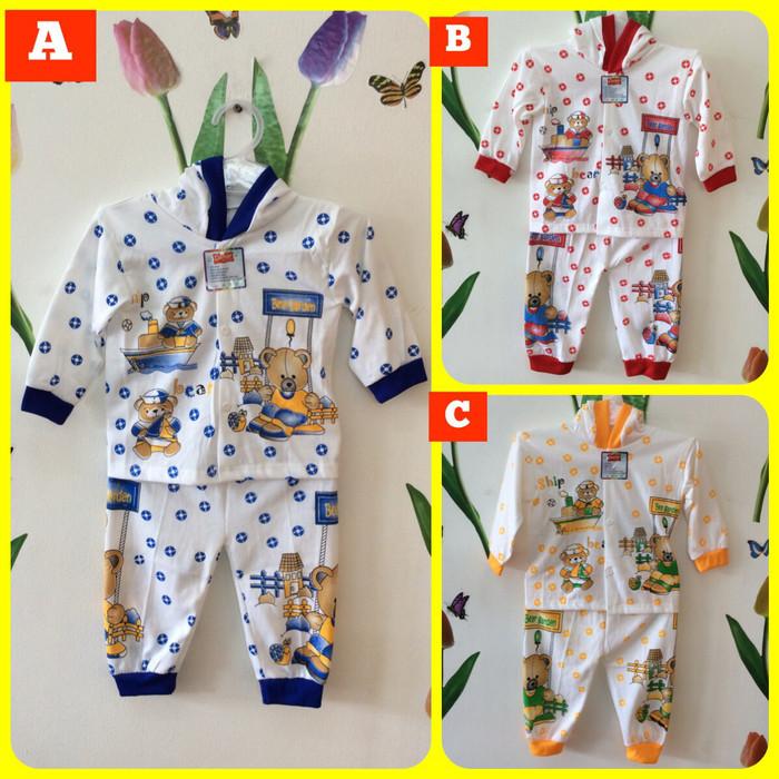 Setelan Baju Tidur Piyama Topi Anak Bayi 0-6 Bulan Beruang