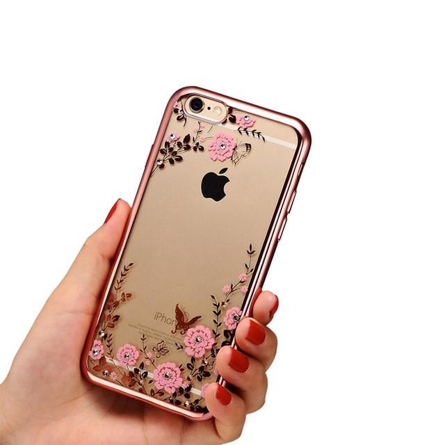 TPU Flower iPhone 5 5s SE Silicone Diamond Soft Case Softcase Chrome