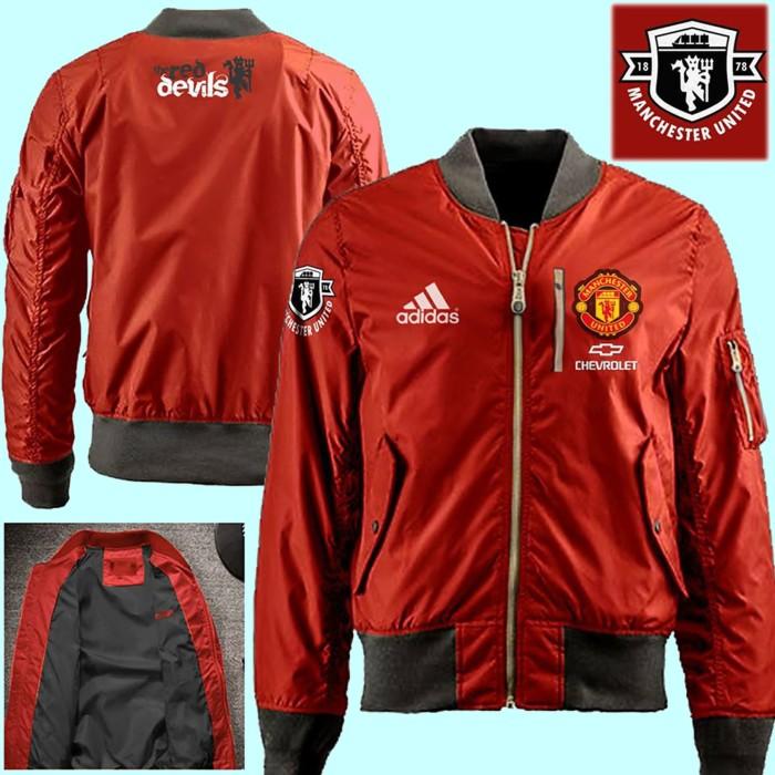 Jaket Bomber Taslan Waterproof Manchester United Red | Jaket Keren
