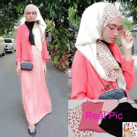Baju Muslim Gamis Hijab Wanita Maxi Leosa 3in1 MURAH