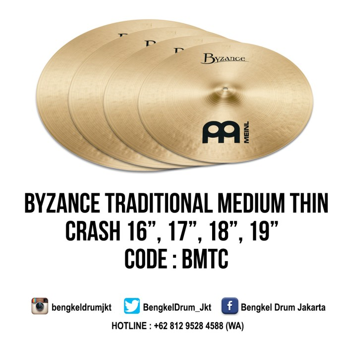 "Foto Produk Meinl Cymbal Byzance Traditional Medium Thin Crash 18"" dari Bengkel Drum Jakarta"