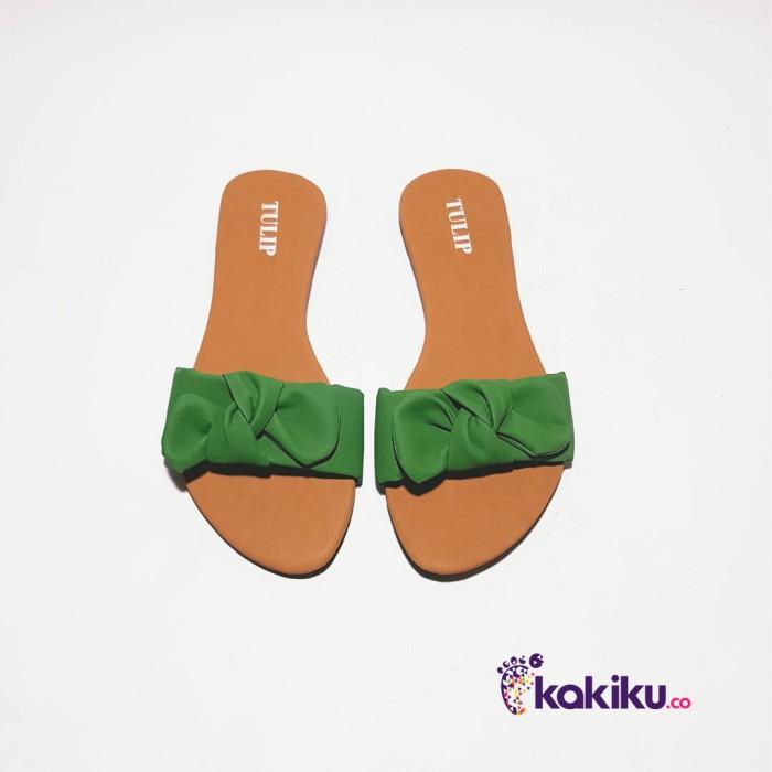 Sandal / Sendal Tulip Teplek Pita Hijau / Sandal Flat Santai Termurah
