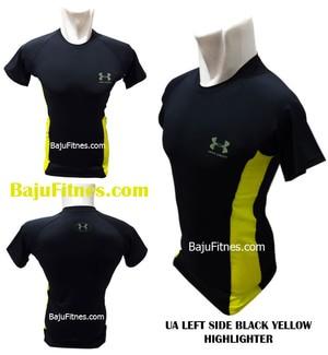 Kaos Ketat Fitnes - UA LEFT SIDE BLACK YELLOW HIGHLIGHTER