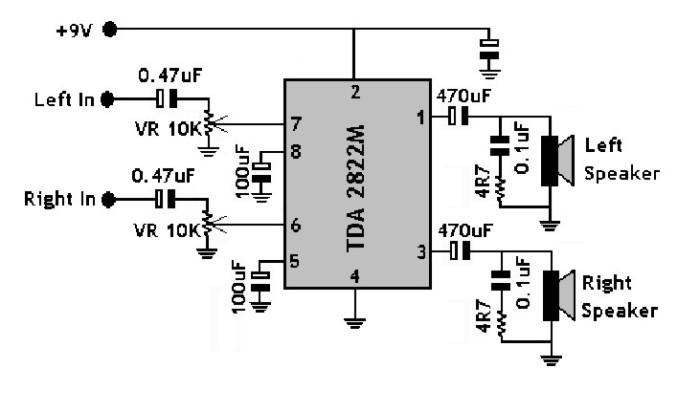 jual ic tda2822m tda2822 dip 8 pin low voltage stereo