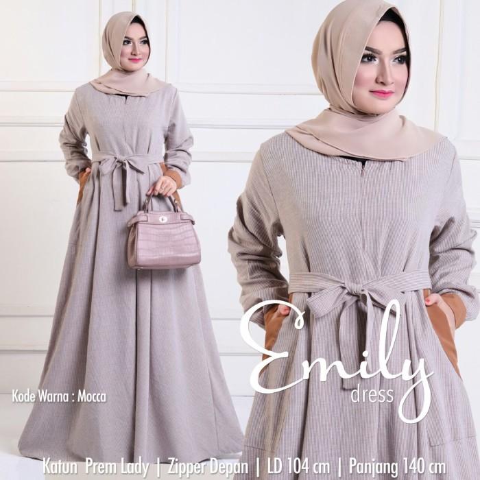 Jual Baju Gamis Katun Garis Modern Muslim Wanita Longdress