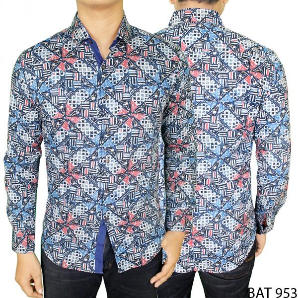 Baju Batik Pria Lengan Panjang Katun Biru BAT 953