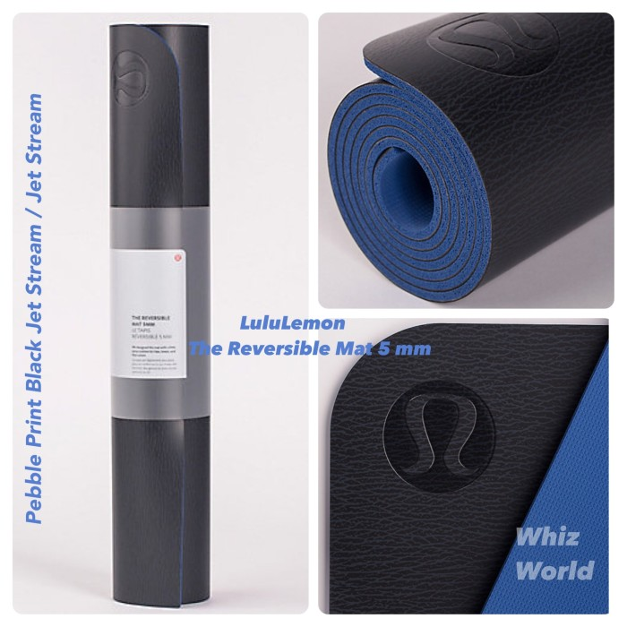 harga Lululemon the reversible yoga mat 5 mm pebble print black jet stream Tokopedia.com