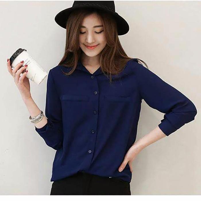 Jfashion Korean Style Plain Shirt Long SLeeve - Ummi Na Murah