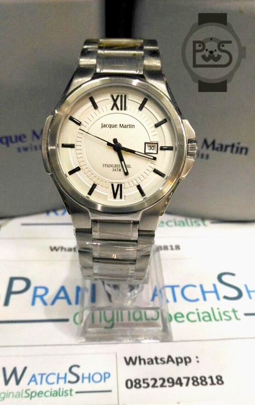 Jam Tangan Jacque Martin 3250 Swiss Silver Pria Original Garansi 1 Thn de74e59939