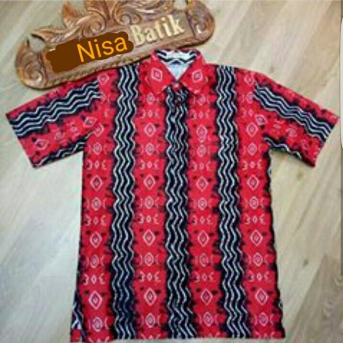 harga Baju batik kemeja hem pria baru motif tenun katun merah hitam cirebon Tokopedia.com