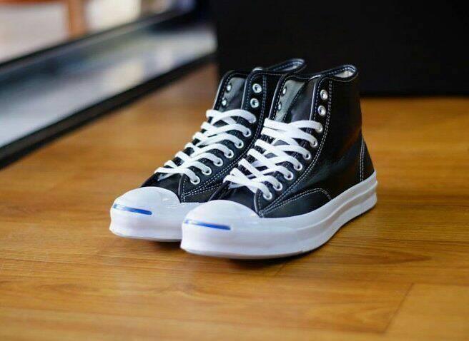 Jual Converse Jack Purcell Signature Leather Hi Black White ... 45dafee731