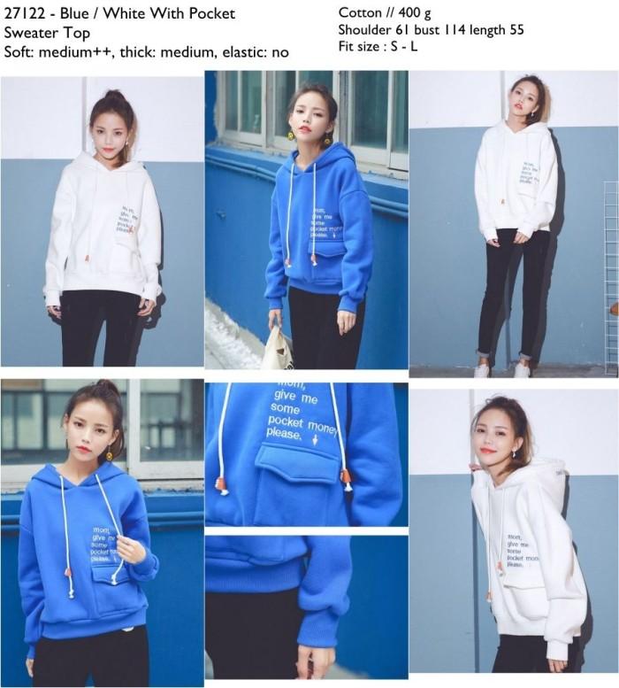 harga Sweater jumper hoodie cewek korea biru putih oversize import Tokopedia.com