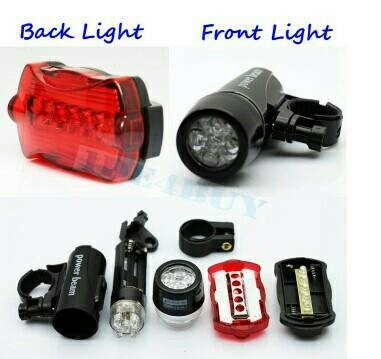 harga Lampu sepeda depan belakang 1 set 5 led light powerbeam waterproof Tokopedia.com