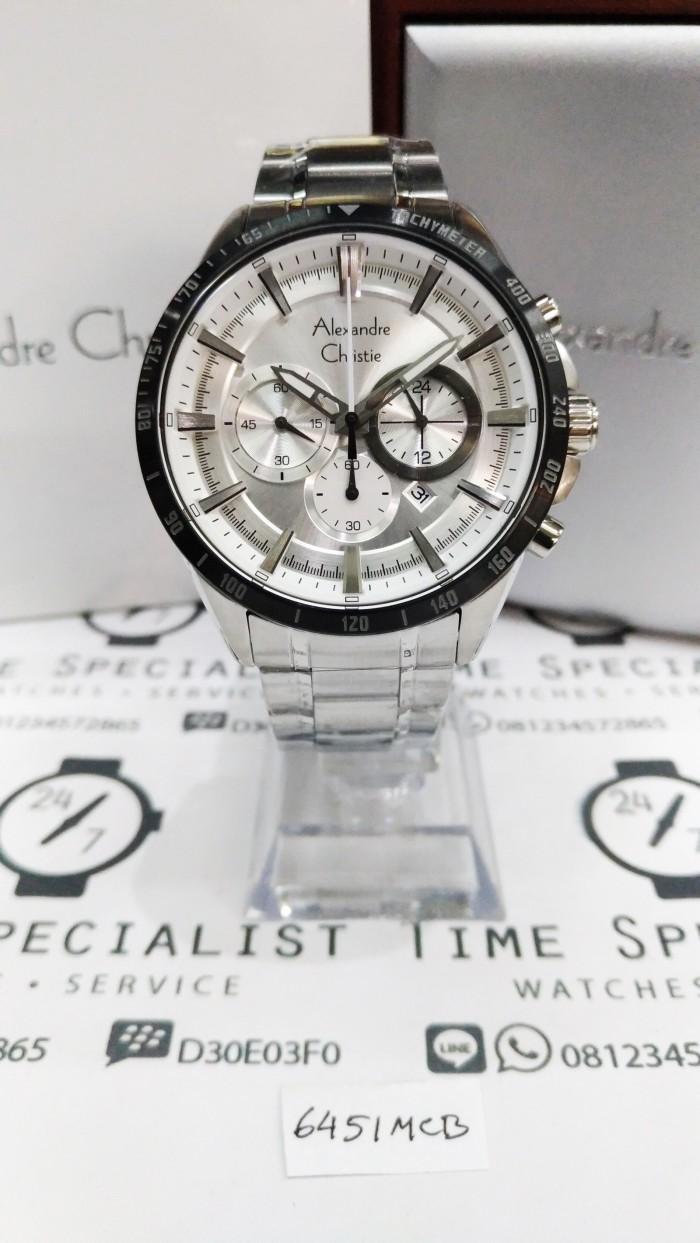 Jam Tangan Alexandre Christie AC 6451 MC Silver Plat Putih Pria Ori