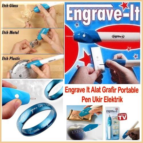 Engrave It Pen Alat Ukir / Grafir Elektrik Portable - Putih-Biru