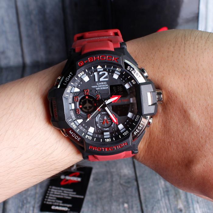 Jam Tangan Pria Cowok GA1000 Full Red Merah Casio G Shock .