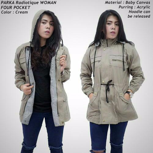 Jaket parka wanita   cewek warna krem 6ea89114cb