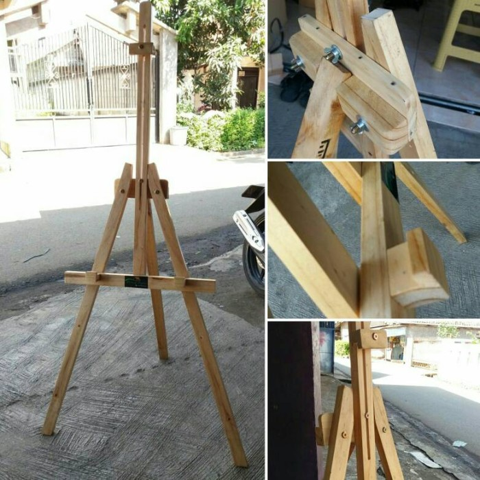harga Standing frame 120cm warna kayu natural lipet Tokopedia.com