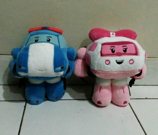 harga Paket boneka mainan robot poly robocar poli biru dan amber pink bagus Tokopedia.com