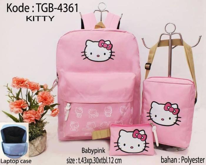 Jual Tas 3in1 Tas Paket Murah Tas Hello Kitty Pink Cantik Dan
