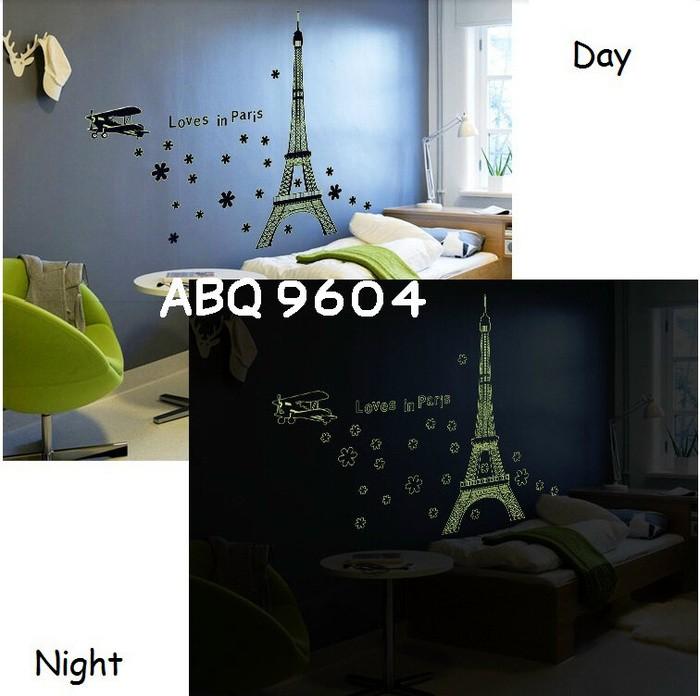 Abq9604 love in paris wallsticker wall sticker stiker dinding glow