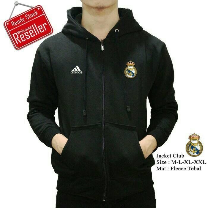 harga Jaket hoodie zipper bola real madrid hitam Tokopedia.com