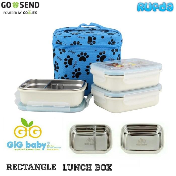 harga Gig baby rectangle (biru) lunch box kotak makan stainless tahan panas Tokopedia.com
