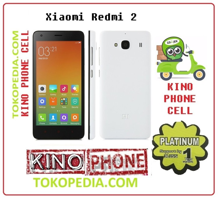 Jual Redmi 2 rom 8GB - 3G only distributor - kino phone cell | Tokopedia