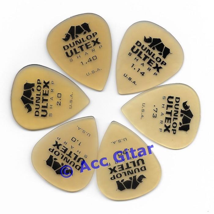 harga 6pcs pick gitar set dunlop ultex sharp .73 .90 1.0 1.14 1.40 2.0 mm Tokopedia.com