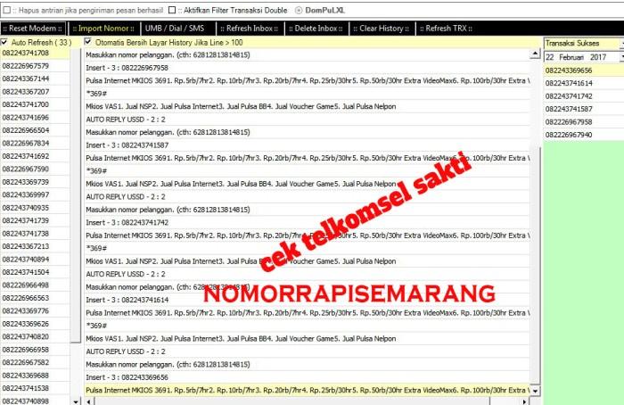 Jual Software Cek Nomor Telkomsel Sakti Otomatis Kota Semarang Nomor Rapi Semarang Tokopedia