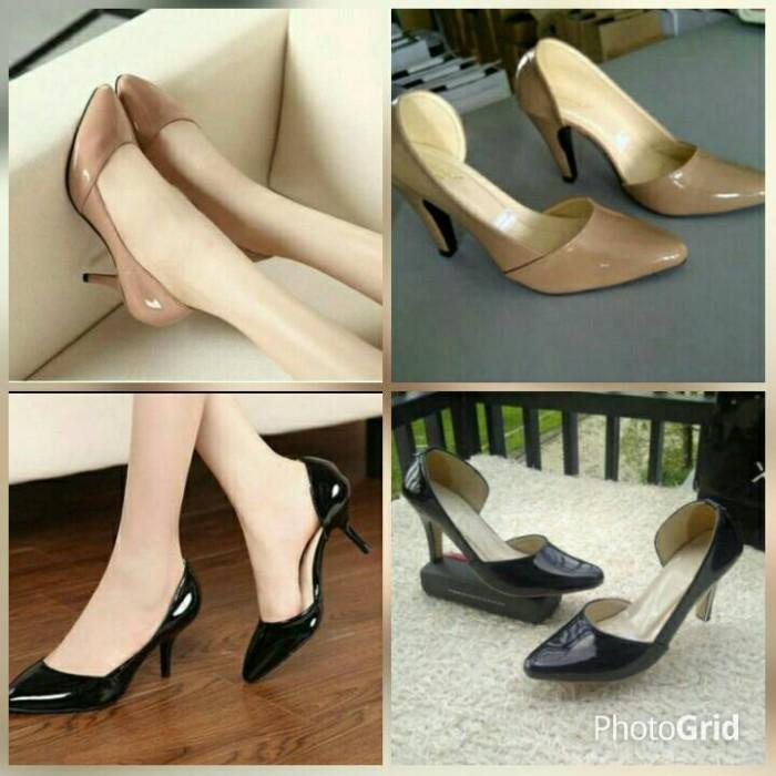 harga Sepatu sandal high heels hitam moka/coklat 9cm polos kerja kantor Tokopedia.com