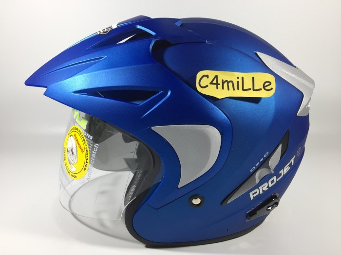 HELM MDS PROJET Double Visor Solid biru doff / cy blue