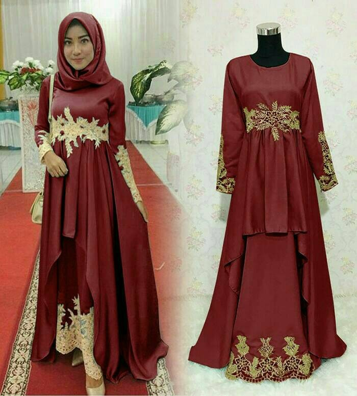 Jual Maxi Dress Pesta Latin Merah Maroon Baju Hijabers Muslim Murah Kota Depok Nadira Galery Tokopedia