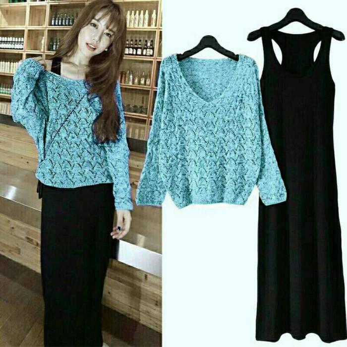 Maxi Dress Rajut Biru Hitam / Grosir Dress Panjang / Maxidress Terbaru